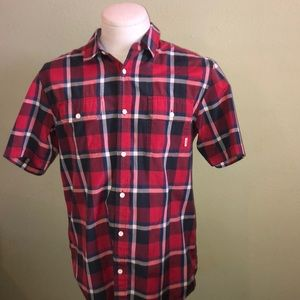 Vans off the wall plaid button down short sleeve